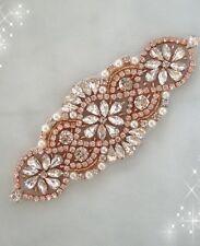 50% OFF Rose Gold Rhinestone Applique / Bridal Applique / Pearl and Rhinestone