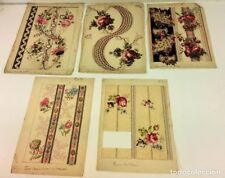 5 PROOF DRAWINGS FOR PAINTED PAPER. WATERCOLOR. SOME AWARDS. SPAIN. CIRCA 1787