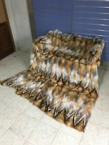 Luxury Red Fox Fur Throw Real Red Fox Fur Blanket / Bedspread Big Size