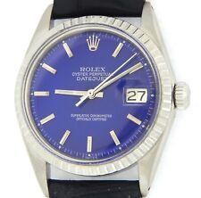 Rolex Datejust 1603 Men Stainless Steel Watch Black Strap Submariner Blue Dial