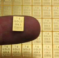 Lingot or 1 gramme or pur 24 carats 999,9/1000 gold bar 1 gr