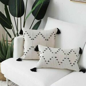 White Black Geometric Cushion Cover Pillow Cover For Home Decoration Sofa Bed