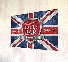 Personalizzato Union Jack Bandiera Britannica CROMATO STEMMA Birra Etichetta Firmare a4 metallo segno