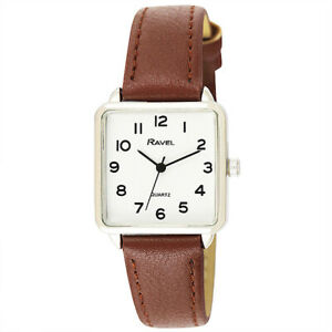 Ravel Ladies Classic Square Dial Brown Strap Watch R0139.12  New