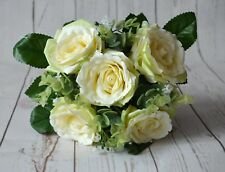 Artificial Ivory Rose and Greenery Flower Bouquet weddings home floral