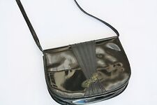 Vintage BALLY Patent Leather Cross Body Bag Clutch Round Snakeskin Bow Pleat