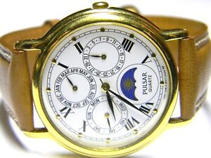mens Seiko Pulsar Triple Calendar Day Date Month Moonphase Gold Plated watch