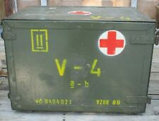 Czech Military Medic Wood Case Supply Box Chest 3 Drawer w/ Table-Desk