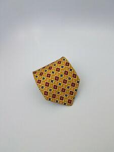 Lands End Silk Tie Yellow Red Black Geometric 57.5 x 3.75