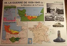 Affiche scolaire Rossignol,la Libération de la France,Débarquement 1939, 1945