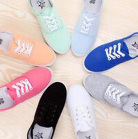 Ladies Women Girls Flat Lace Up Canvas Plimsolls Trainer Skater Pumps Shoes Size