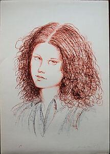 Fiorello Tosoni litografia originale Volto 70x50 firmata numerata
