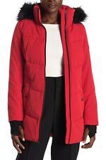 $240 Michael Kors Women's Hooded Faux Fur-Trim Puffer Coat Jacket S Red
