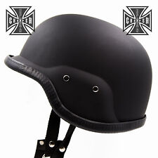 L Matte Black US Army Motorcycle Helmet Military Skull Cap Biker Chopper Novelty