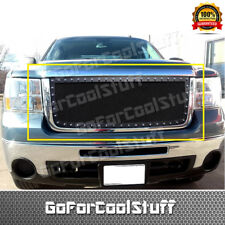 For 2007 2008 2009 2010 GMC Sierra 2500/3500 HD Upper Grille Steel Black Mesh