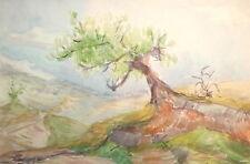 Vintage watercolor impressionist landscape painting