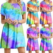 Women Tie Dye T Shirt Dress Tops Beach Short Sleeve Casual Sundress Blouse Tunic