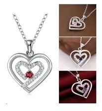 """18"""" Silver Double Hearts Cubic Zircnia Amethyst Pendant Necklace Gift PS1"""