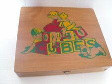 ANCIEN JEU DE CUBES BOIS  PUZZLES + LETTRES + CHIFFRES  JEU EDUCATIF