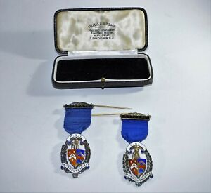 Two Masons Stewart P.G.L. Monmouthshire Label Badge pins Medals Hallmarked Wales