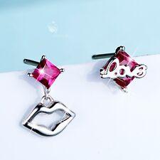 925 silver earrings simulated diamond cute love lip stud rose red