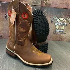 MEN'S BROWN BOOTS WESTERN COWBOY SQUARE TOE CRAZY LEATHER TRACTOR SOLE