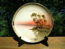 ANTIQUE / VINTAGE GILDED HANDLED SERVING PLATE WITH MORIAGE C 1920's