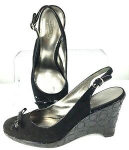 Coach Aligra Slingback Pump Women's 7.5B Black Suede Patent Logo Wedge Heel Shoe
