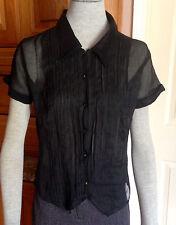 Anthropologie Black Sheer Button Pleated Front 100% Cotton Blouse Short Slvs z M