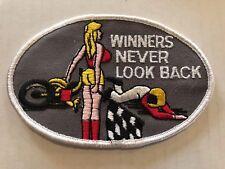 Vintage Patch Winners Never Look Back NOS Funny Race Dirt Motorcycle Biker 70s