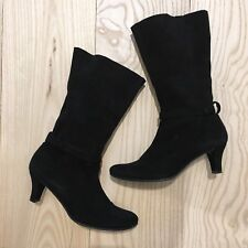 NDC MADE BY HAND Femme Bottes souple en daim talon bobine, Noir, 36 EU, UK 3 EUC