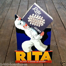 Original 1940s French RITA COOKIES CARDBOARD Display Standup Sign LEON DUPIN