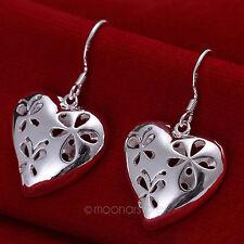 1 Pair Lady Women's Silver Plated Hollow Flower Heart Dangle Hook Earrings Gift
