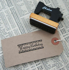 Kawaii Kitsch Vintage Sewing Machine Shape Happy Birthday Lace Rubber Stamp