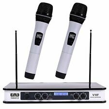 EMB-EBM60E White VHF Wireless Hand Held Microphone Mic System With ECHO Karaoke