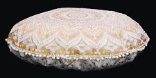 "Indian Mandala Floor Pillow 32"" Meditation Round Cushion Cover Ottoman Pouf Sham"