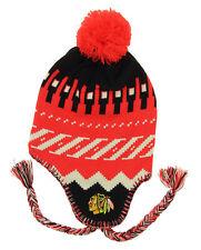 Reebok NHL Youth Chicago Blackhawks Knit Faceoff Tassel Beanie, Red OSFM