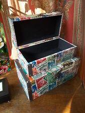 Estampilla postal de almacenamiento madera vintage antiguas cajas de documentos de letras de Mesa de Caja de Tela