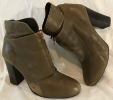 Asos Khaki Ankle Leather Boots Size 4 (4Q)