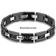 Black & Silver Tone Ceramic & Tungsten Carbide Greek Key Link Bracelet for Men