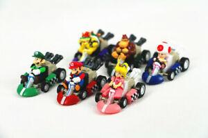 6pcs Super Mario Kart Pull Back Car Luigi Toad Bowser Princess Figure Kids Toys