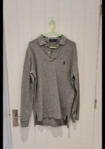 Authentic Mens Ralph Lauren Grey Long Sleeve Tshirt Top, Size XS