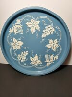 Vintage Round Hand Painted Metal Tray Grapes and Leaves ~Shabby Chic Cottage