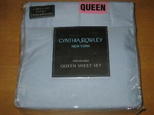 New CYNTHIA ROWLEY 6 Piece Queen Microfiber Sheet Set w 4 pillowcases Light Blue