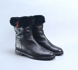 GUCCI Black Grain Leather WEB Trim FUR Boots 39 US9 Made in Italy
