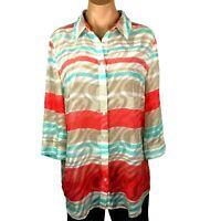 Chicos Women Blouse Tunic Size 2 Reg 12 Blue Aqua Coral Button Front Texture A09