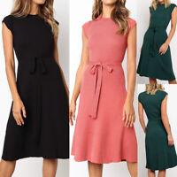 Summer Plain Slim Midi Dress Women Vintage Short Sleeve Sashes Evening Dress