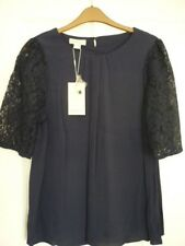 Monsoon Leisel Navy Blue Lace Sleeve Pleat Front Top. UK 12 EUR 40 US 8