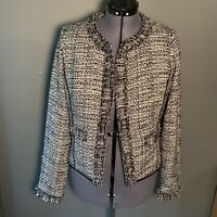 White House Black Market Women's Size 12 Tweed Trophy Jacket Black White Sparkle