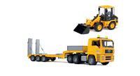Bruder 02776 -3 MAN TGA 01629 Sattelzugmaschine +Tieflader + Radlader 02441